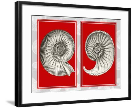Nautilus Shells On Red-Fab Funky-Framed Art Print