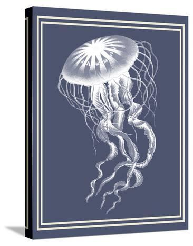 Mixed Nautical White on Indigo Blue e-Fab Funky-Stretched Canvas Print