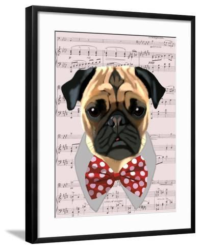 Pug with Red and White Spotty Bow Tie-Fab Funky-Framed Art Print