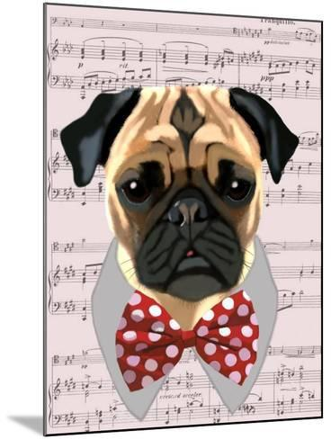 Pug with Red and White Spotty Bow Tie-Fab Funky-Mounted Art Print