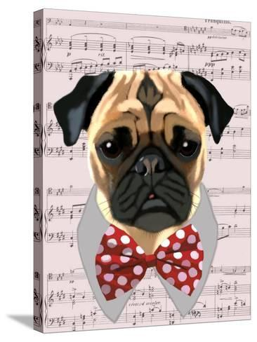 Pug with Red and White Spotty Bow Tie-Fab Funky-Stretched Canvas Print