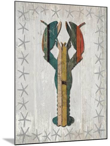 Distressed Wood Style Lobster 1-Fab Funky-Mounted Art Print