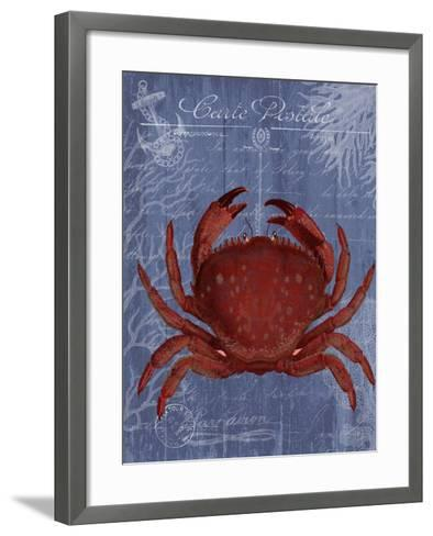 Seaside Postcard Red on Blue f-Fab Funky-Framed Art Print