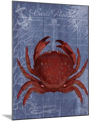 Seaside Postcard Red on Blue f-Fab Funky-Mounted Art Print
