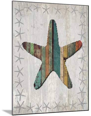 Distressed Wood Style Starfish 1-Fab Funky-Mounted Art Print