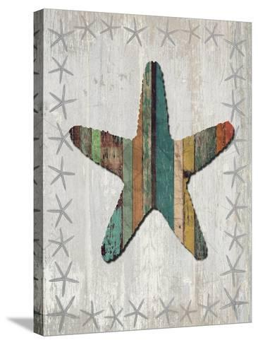 Distressed Wood Style Starfish 1-Fab Funky-Stretched Canvas Print