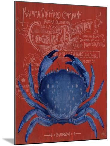 Crab Prohibition Crab On Red-Fab Funky-Mounted Art Print