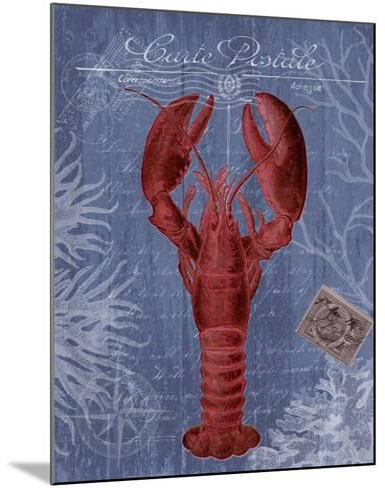 Seaside Postcard Red on Blue d-Fab Funky-Mounted Art Print