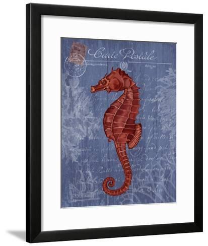 Seaside Postcard Red on Blue b-Fab Funky-Framed Art Print
