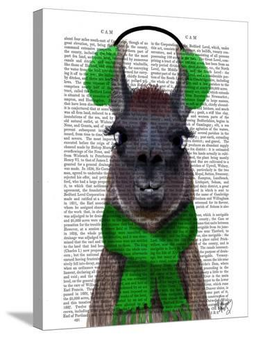 Chilly Llama, Green-Fab Funky-Stretched Canvas Print