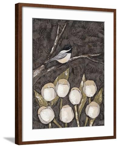 Chickadee & Tulips I-Jade Reynolds-Framed Art Print