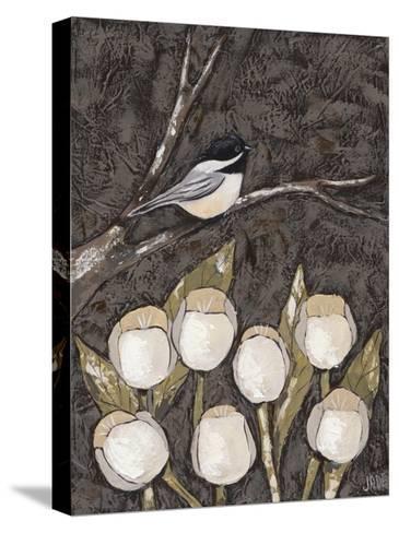 Chickadee & Tulips I-Jade Reynolds-Stretched Canvas Print