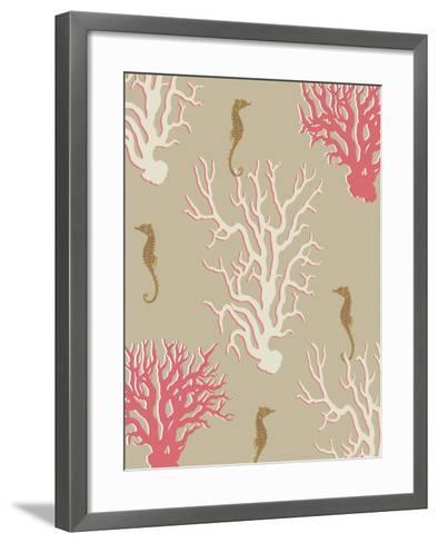 Coral and Seahorse in Beige-Fab Funky-Framed Art Print