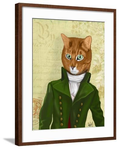 Ginger Cat in Green Coat-Fab Funky-Framed Art Print
