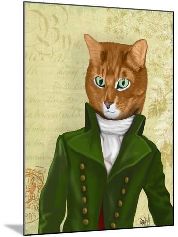 Ginger Cat in Green Coat-Fab Funky-Mounted Art Print