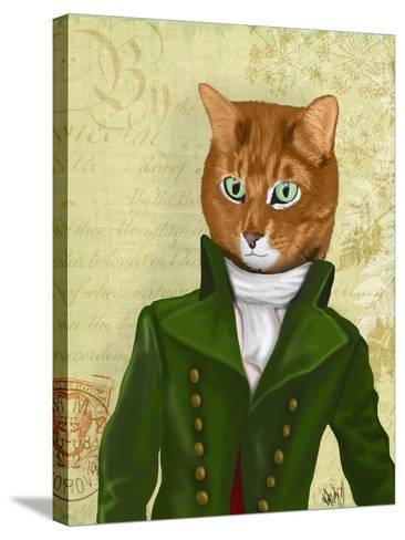 Ginger Cat in Green Coat-Fab Funky-Stretched Canvas Print