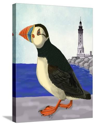 Puffin On the Quay-Fab Funky-Stretched Canvas Print