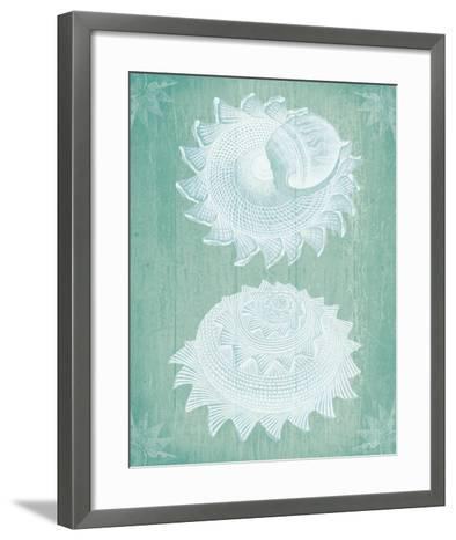 Shells White on Turquoise-Fab Funky-Framed Art Print
