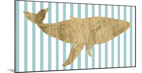 Pin Stripe Whale I-Studio W-Mounted Art Print