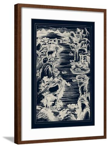 Chinese Bird's-eye View in Navy I-Vision Studio-Framed Art Print
