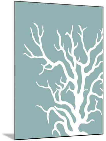 Corals White on Mist Blue Green a-Fab Funky-Mounted Art Print