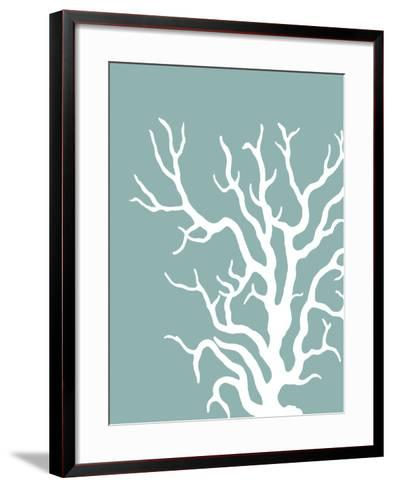 Corals White on Mist Blue Green a-Fab Funky-Framed Art Print