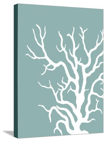 Corals White on Mist Blue Green a-Fab Funky-Stretched Canvas Print