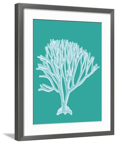 Coral 2 White on Turquoise-Fab Funky-Framed Art Print