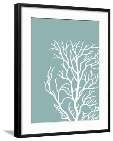 Corals White on Mist Blue Green c-Fab Funky-Framed Art Print