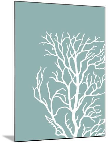 Corals White on Mist Blue Green c-Fab Funky-Mounted Art Print