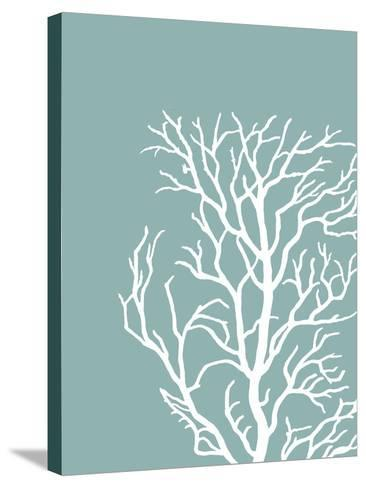 Corals White on Mist Blue Green c-Fab Funky-Stretched Canvas Print