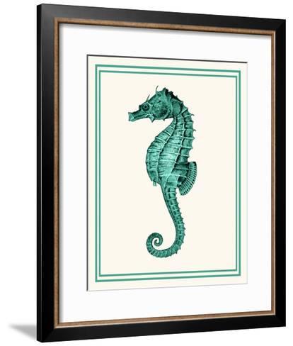 Mixed Nautical Green on Cream e-Fab Funky-Framed Art Print