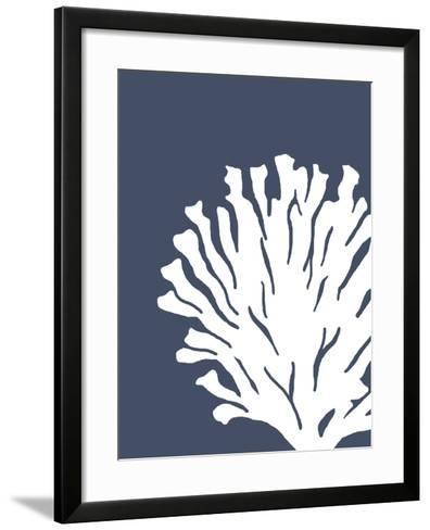 Corals White on Indigo Blue d-Fab Funky-Framed Art Print