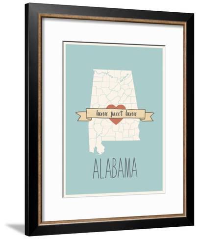 Alabama State Map, Home Sweet Home-Lila Fe-Framed Art Print