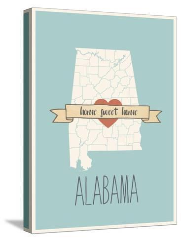 Alabama State Map, Home Sweet Home-Lila Fe-Stretched Canvas Print