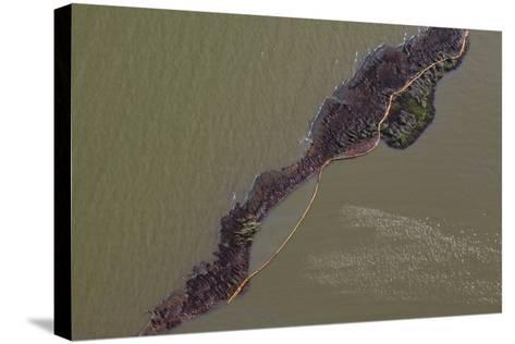 Aerial View of an Oil Covered Island and Displaced Oil Containment Boom-Gerrit Vyn-Stretched Canvas Print