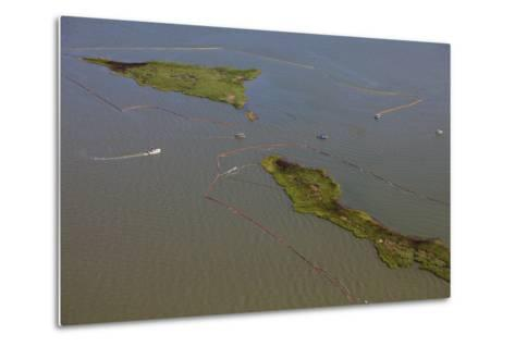 Aerial View of Oiled Bird Nesting Colonies in Barataria Bay Area of the Mississippi River Delta-Gerrit Vyn-Metal Print