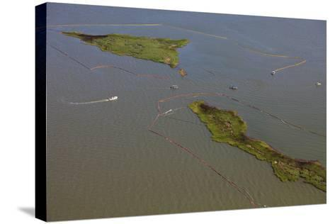 Aerial View of Oiled Bird Nesting Colonies in Barataria Bay Area of the Mississippi River Delta-Gerrit Vyn-Stretched Canvas Print