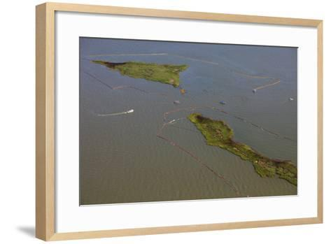 Aerial View of Oiled Bird Nesting Colonies in Barataria Bay Area of the Mississippi River Delta-Gerrit Vyn-Framed Art Print