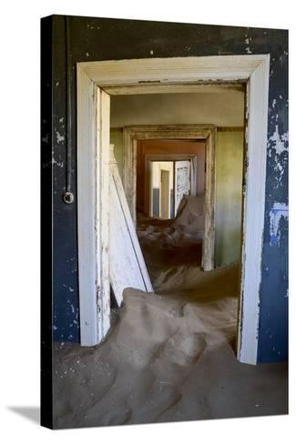 Abandoned House Full of Sand. Kolmanskop Ghost Town, Namib Desert Namibia, October 2013-Enrique Lopez-Tapia-Stretched Canvas Print