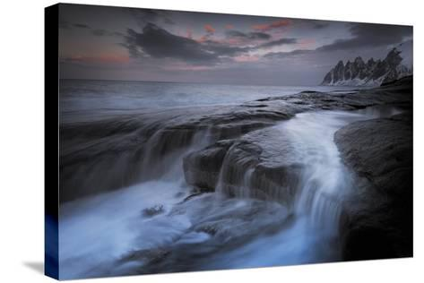 Long Exposure of Tidal Water Flowing Off Rocks-Benjamin Barthelemy-Stretched Canvas Print