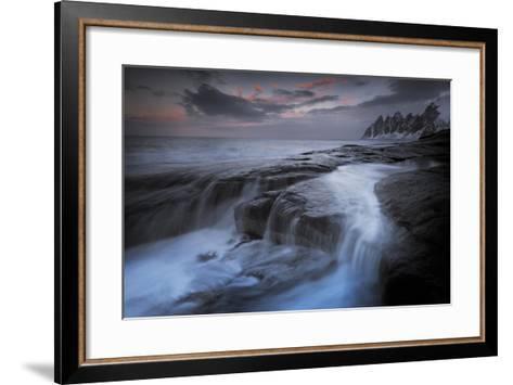 Long Exposure of Tidal Water Flowing Off Rocks-Benjamin Barthelemy-Framed Art Print