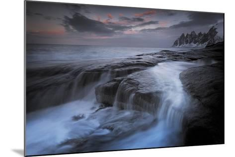 Long Exposure of Tidal Water Flowing Off Rocks-Benjamin Barthelemy-Mounted Photographic Print