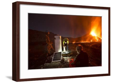 Scientists Observing Lava and Ash Plume Erupting from Fogo Volcano-Pedro Narra-Framed Art Print