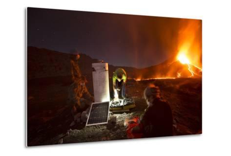 Scientists Observing Lava and Ash Plume Erupting from Fogo Volcano-Pedro Narra-Metal Print