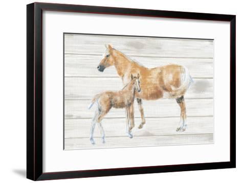 Horse and Colt on Wood-Emily Adams-Framed Art Print