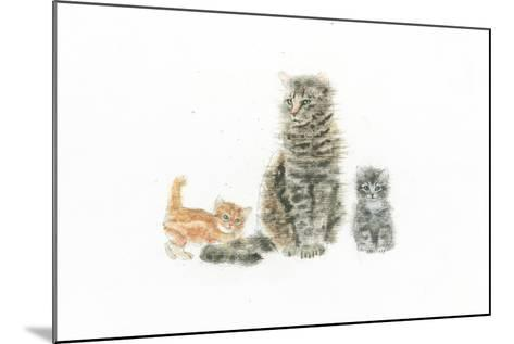 Cat and Kittens-Emily Adams-Mounted Art Print