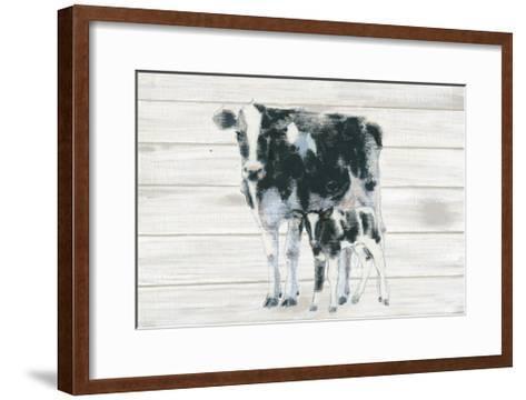 Cow and Calf on Wood-Emily Adams-Framed Art Print