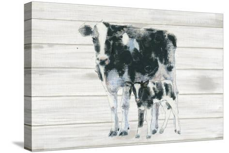 Cow and Calf on Wood-Emily Adams-Stretched Canvas Print