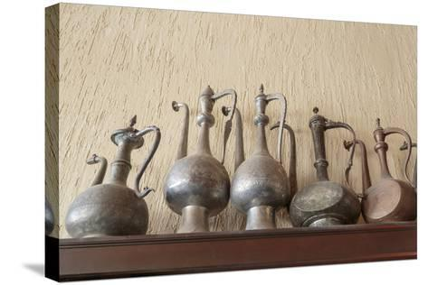 Azerbaijan, Lahic. A Collection of Engraved Kettles-Alida Latham-Stretched Canvas Print
